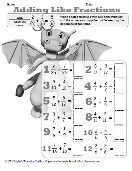 math worksheet : adding and subtracting fractions with unlike denominators  : Adding Fraction With Unlike Denominators Worksheet